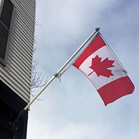 flag on building