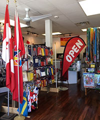 store display with Open flag